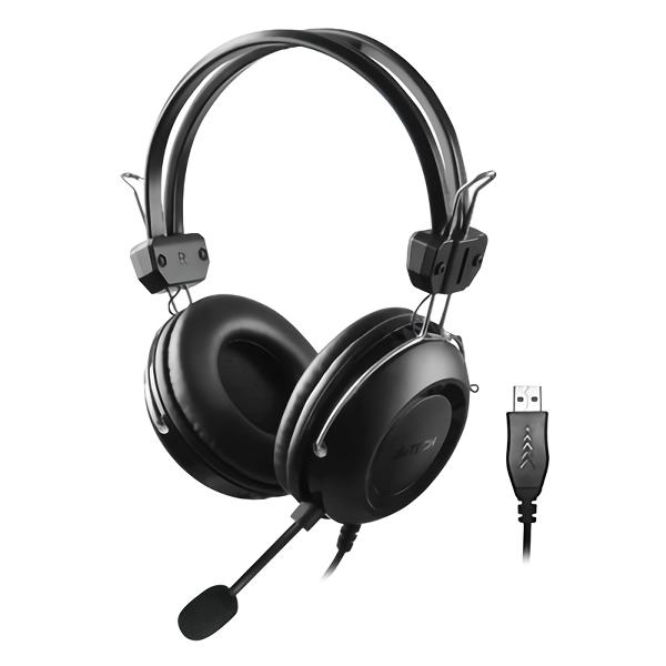Ακουστικά A4Tech Headset HU-35, USB, 40mm, 102 dB, μαύρα