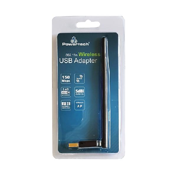 Wireless USB adapter, Powertec, 150Mbps, 2.4GHz, 5dBi, MT7601